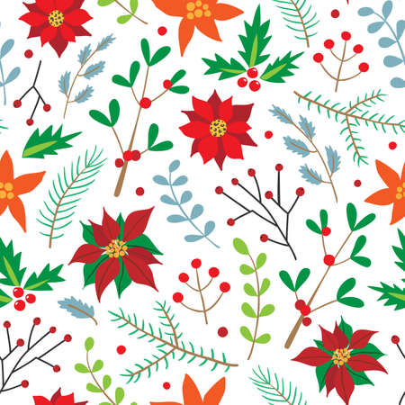 Christmas seamless pattern with spruce branches, holly, poinsettia, and berries. Holiday design for Christmas and New Year fashion prints. Xmas background with winter plants.
