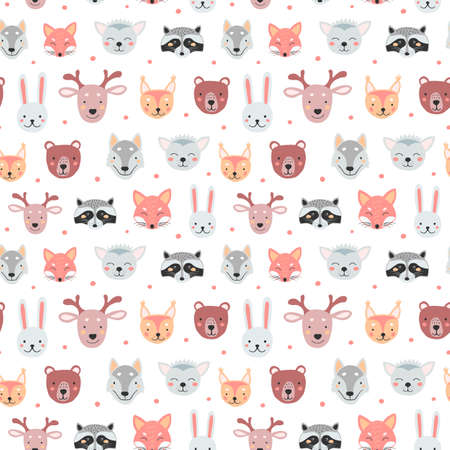 Seamless pattern with cute animals for print design. Woodland animal and farm animal illustration. Vector drawing.