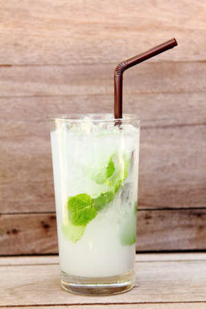 Lime juice with Soda and Mint  photo