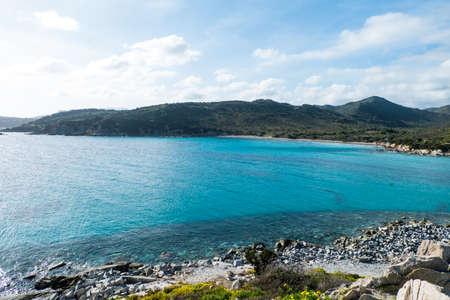 Punta is Molentis bay, Villasimius, Cagliari, Sardinia, Italy Stock Photo