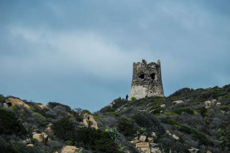 Porto Giunco Tower, Cava di Usai, Villasimius, Cagliari, Sardinia, Italy Stock Photo