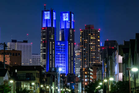 Night View of Tokyo Metropolitan Government Segment from a Resident Area, Blue Light Up