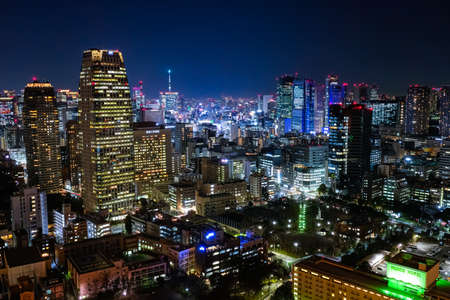 Night view of Tokyo from the observation deck of Tokyo Tower