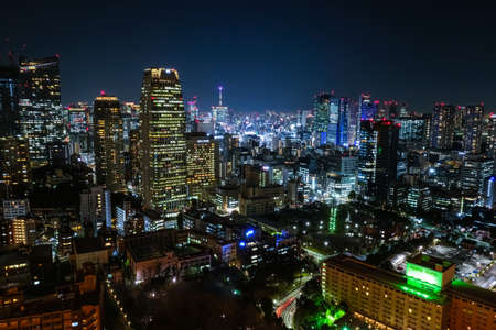 Night view of Tokyo from the observation deck of Tokyo Tower Editorial