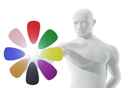 Person pointing symbol of digital flower Stock Photo