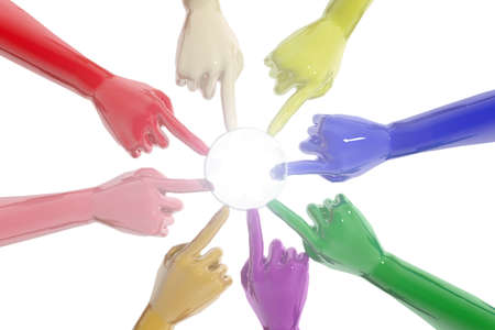 Union of hands of different colors photo