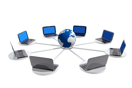 Laptops connected to a world globe