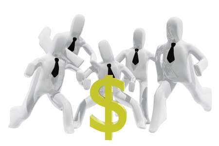 avarice: Group of executives chasing dollar sign Stock Photo