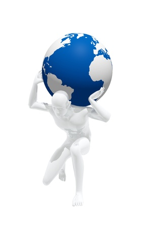 Person trying to carry the weight of the world on his shoulders