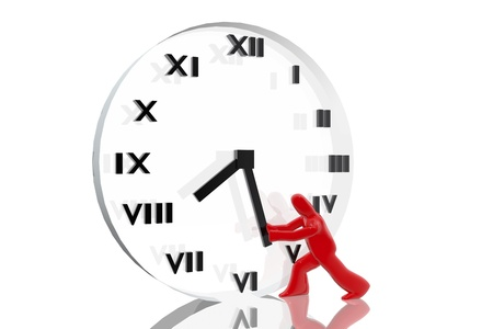 Figure trying to advance the time on a clock