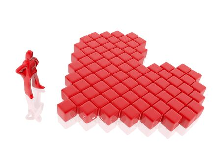 Figure constructing a heart with cubes