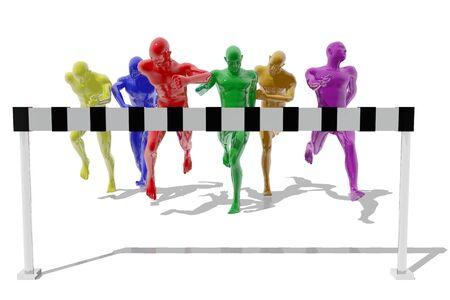 competitividad: Los atletas que llegan en una carrera a la línea de meta Foto de archivo