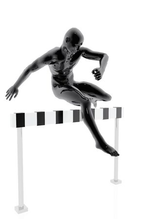 Athlete jumping an obstacle