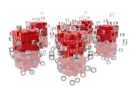 Abstract composition with red blocks fitting together Stock Photo - 14766991