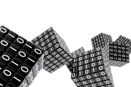 numbers abstract: Cubes with binary numbers Stock Photo