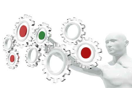 Person selecting gear icons Stock Photo
