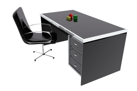 clean background: Chair and desk table office Stock Photo