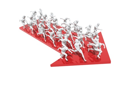 Group of people running in one direction