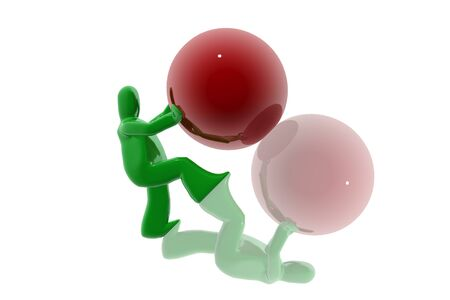 Figure pushing sphere Stock Photo