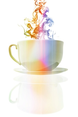 Colorful steaming coffee cup photo