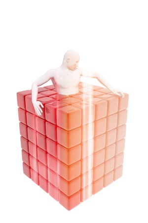 Person locked in a cube Stock Photo