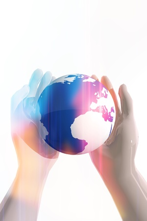 Hands showing planet earth in peace symbol