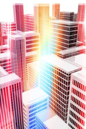 population growth: Illuminated office buildings in the city