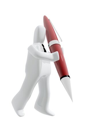 ballpoint: Executive with ballpoint pen to sign