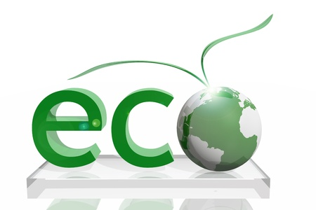 Ecology icon on the planet