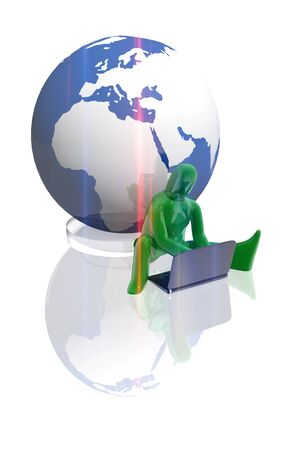 Figure working with laptop and earth globe