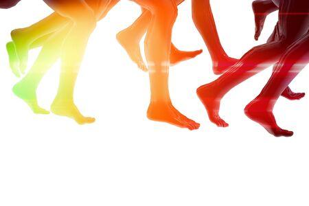 Close-up of running feet Stock Photo