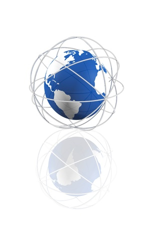 Connected global world icon Stock Photo - 15123082