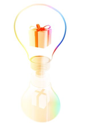 gift box inside a lightbulb photo