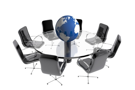 Meeting room with earth globe
