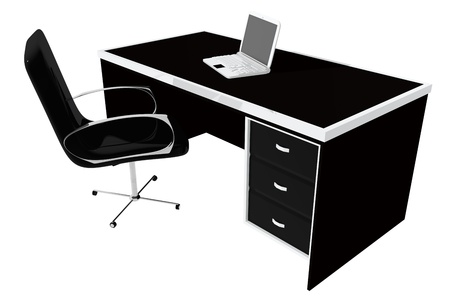 Office table and chair with white laptop