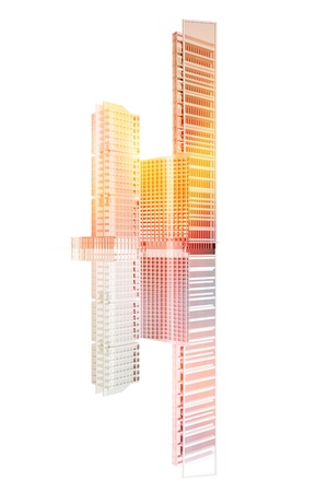 Three office buildings on white background
