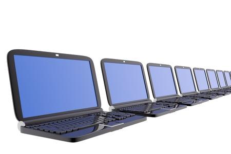 aligned: Several pc laptops aligned Stock Photo
