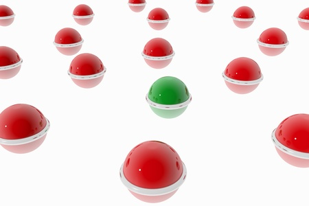 Abstract composition with red and green nodes