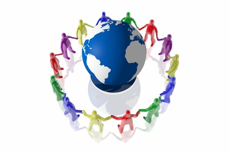 hands holding earth: People of different colors surrounding an earth globe