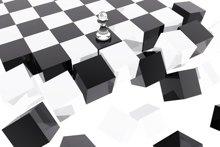 downturn: Pawn on collapsing chessboard  Stock Photo