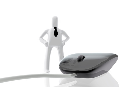 mousepad: Computer mouse and businessman