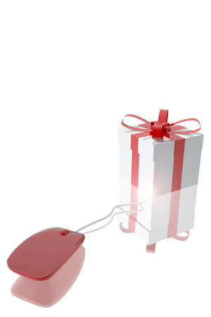 Computer mouse connected to a gift
