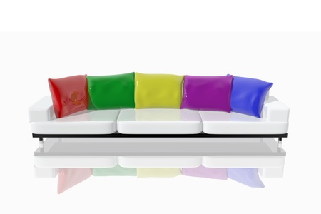 cushions: Sofa with cushions in different colors