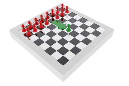 advancing: Pawn advancing on the board. Concept of leadership