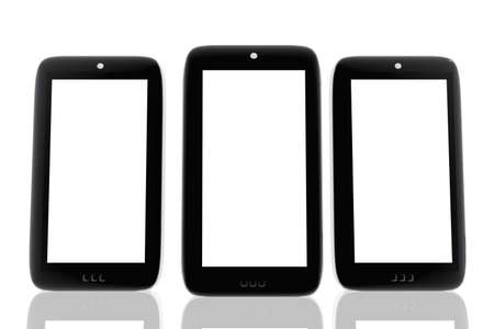 Three mobile phones with space to insert images and text