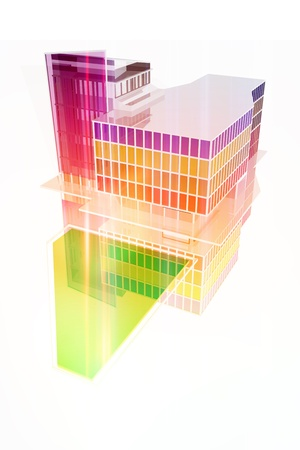 Colorful mall building Stock Photo