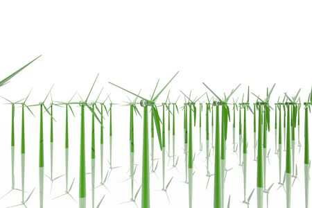Group of green windmills photo