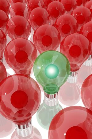 Green lightbulb surrounded by red light bulbs Stock Photo - 19665060