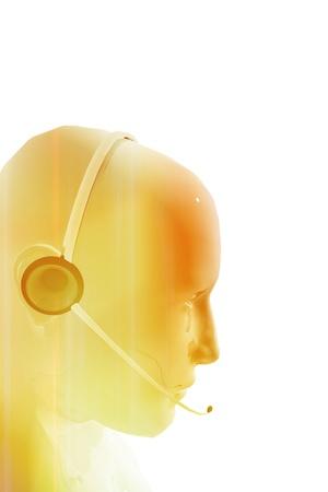 teleoperator: Teleoperator answering calls.  Customer service concept