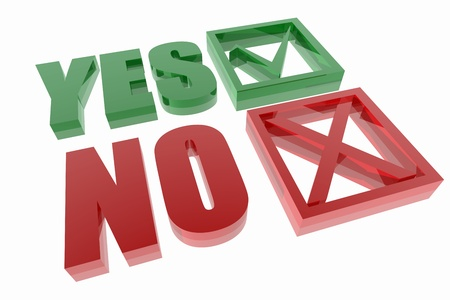 tickbox: Yes and no symbols.  Question. Stock Photo
